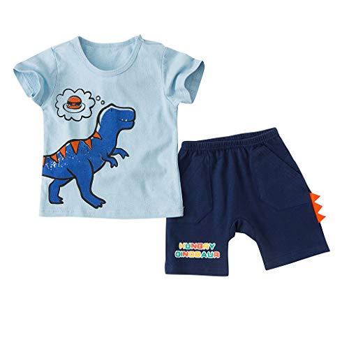 Allegorly Baby Jungen Bekleidungsset Sommerkleidung Set Cartoon Kinder Dinosaurier drucken Kurzarm T-Shirt Oberteile + Kurze Hosen Briefdruck Pyjama für 0-3 Jahre (Sexy Dinosaurier Kostüm)