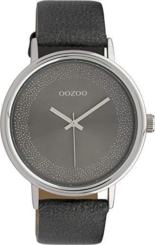 Oozoo Damenuhr mit Glitzer Zifferblatt und Lederband 42 MM Silbergrau/Dunkelgrau C10099