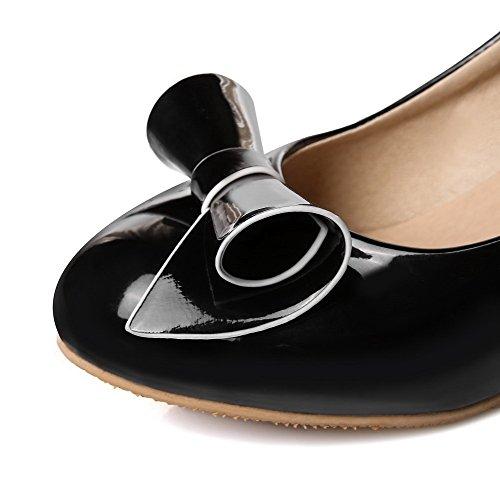 AgooLar Femme Pu Cuir Tire Couleur Unie Rond à Talon Correct Chaussures Légeres Noir