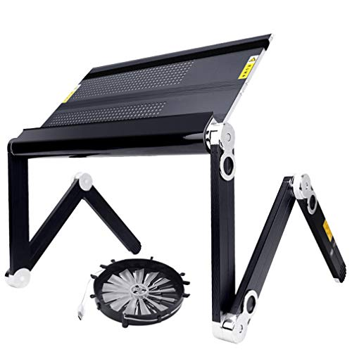 Faltbarer Laptop-Schreibtisch, Beweglicher Laptop-Schreibtisch PC-Schreibtisch-Laptop-Stand-faltender Computer-Laptop-Tisch für Bettsofa (Farbe : With fan, größe : S-45 x 24.5cm)