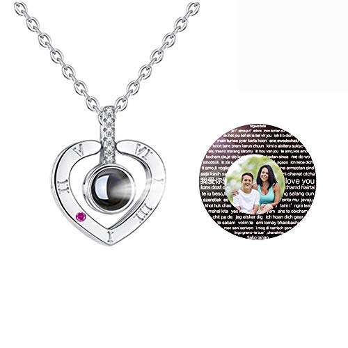 JIANG99 Collier I Love You, Collier de Projection en 100 Langues, Collier La mémoire de l'amour, nanotechnologie, 100 Langues différentes pour I Love U(Argent couleur-22)