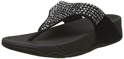 Fitflop GLITZIE Toe-Thong Sandals, Sandali Punta Aperta Donna, Nero (Black 1), 38 EU