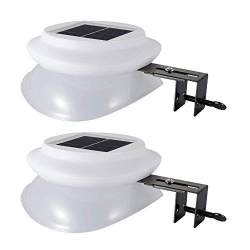 2 Stück Solar Zaun Licht mit 9 LEDs Warmweiß,Solarleuchte Garten für Haus, Zaun, Garten, Garage und Gehweg Beleuchtung