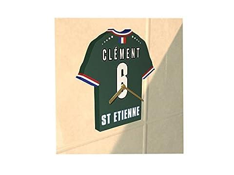 France Ligue 1 - Horloge murale en forme de T-shirt de foot– Personnalisation gratuite: n'importe quel nom, numéro, équipe!! (AS Saint-Etienne)