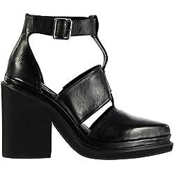 Windsor Smith Damen Weapon Leder Schuhe Blockabsatz High Heel Knoechelriemen Schwarz 5 (38)