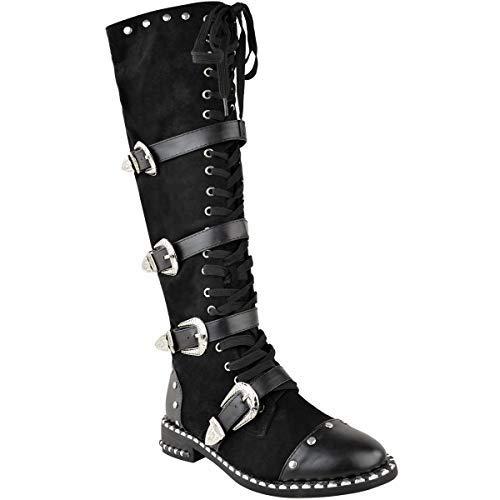 Womens Ladies Knee High Boots Studded Punk Grunge Rock Spikey Winter Calf Shoes