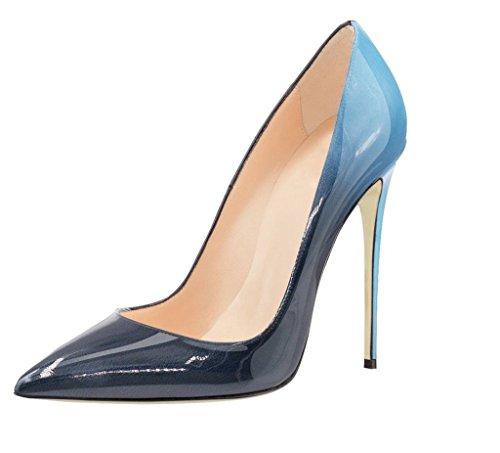 Kolnoo Damen Pumps Stilett High Heels Sptize Zehen Komfort Casual Bunte Fashion Lady Mehrfarbig Schuhe Größe Blau