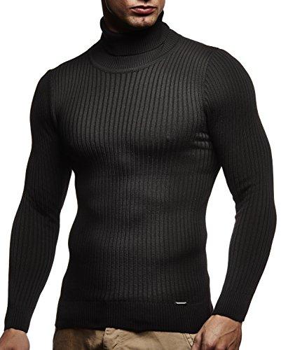 LEIF NELSON Herren Pullover Strick Rollkragenpullover Hoodie Longsleeve Basic Rollkragen Sweatshirt langarm Sweater Feinstrick LN1670; Gr_¤e L, Schwarz (Herren Rollkragen-pullover)