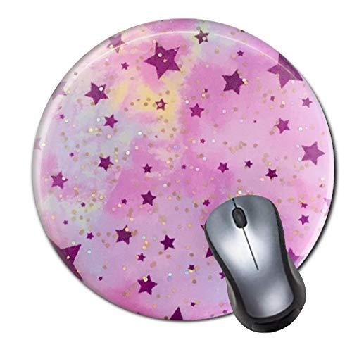 Gaming Mauspad Anti-Rutsch-Gummi Mauspad Rund Mauspad für Computer Laptop Mauspad Glitzer Sterne Träume