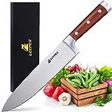 LEEPES Cuchillo de Cocinero Cocina, Acero Inoxidable de Alto Carbono de 8'con Mango Ergonómico, Afilador Ultra Sharp Blade
