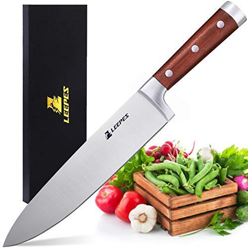 LEEPES Cuchillo de Cocinero Cocina, Acero Inoxidable de Alto Carbono d