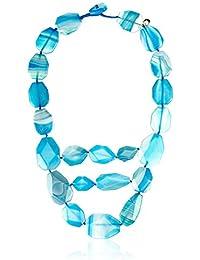 Lola Rose Ipanema 3 Row Statement Santorini Stripe Agate Necklace of Length 50cm