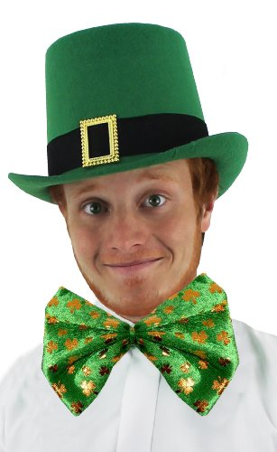 ST PATRICKS DAY Irish Kostüm-Set Hat + GIANT Shamrock Schleife Irland Shamrock Leprechaun