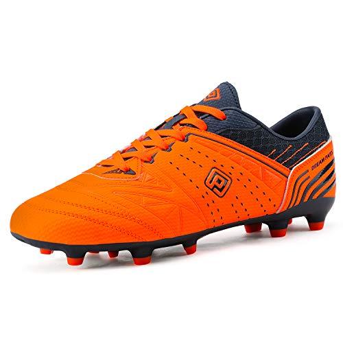 DREAM PAIRS Herren Leichte Fußballschuhe Erwachsene Atmungsaktive Soccer Schuhe Orange Marine Größe 11 US / 45 EU 160859-M