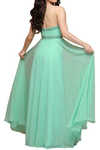 Milano Bride Charment Traegerlos Lang Chiffon Abendkleider Festkleider Partykleider mit Steine Perlen verziert Gelb