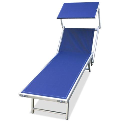 89908b -lettino mare stabilimento spiaggia in alluminio,viti inox 180x61xh40 sdraio (blu)