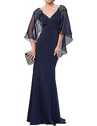 Gorgeous Bride Romantisch Lang Etui V-Ausschnitte Chiffon Brautmutterkleider Partykleider 2017 Damen Festlich Abendkleider Lang Cocktailkleider Ballkleider