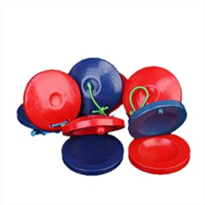 5pcs Baby Wooden Round Castanet Musical Instrument Toy - Red and Blue