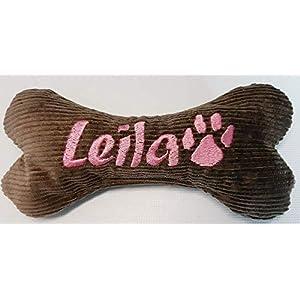 Hundespielzeug Hundeknochen Hunde Geschenk Spielzeug Knochen 19 cm rasselt mit Namen bestickt