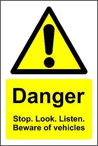 Panneaux Stop - Panneaux d'avertissement Stop Look et Écoutez Méfiez-vous