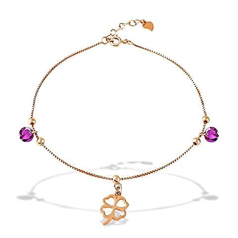 J.Rosée Femme/Fille Chaîne/Bracelet de chevilleen argent 925 plaqué or rose