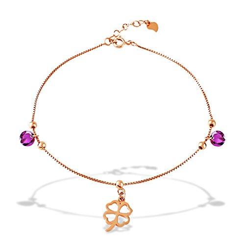 J.Rosée Bracelet/Chaîne de cheville en argent 925, chaîne cœur double 16/21+3cm, un cadeau idéal pour les femmes et les filles Chaîne de cheville2