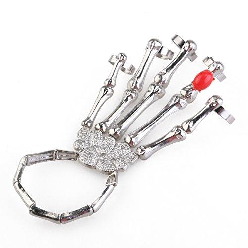 ROSENICE Skelett Hand Kette Armband Finger Ring Gotik Punk (Silber)