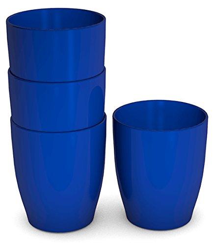 Ornamin Kinderbecher 120 ml blau, 4er-Set | Trinklernbecher, liegt sicher und gut greifbar in der Kinderhand | Melamin, BPA-frei | Kindertasse, Trinkbecher, Kunststoffbecher