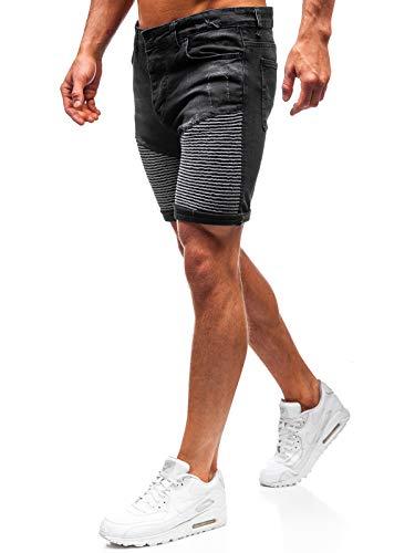 BOLF Herren Hose Kurzehose Jeans Clubwear Denim Street Style täglicher Stil The Gangster 1058 Schwarz M [7G7]