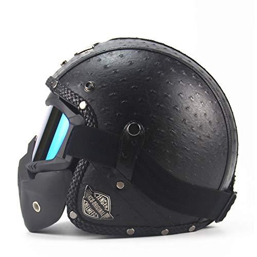 AHNNER Motorrad Crash Harley Helm, DOT Certified Retro Motorrad Cruiser Jethelm Dirt Bike Half Helm mit Maske Erwachsene, 57-62CM,Black,XL