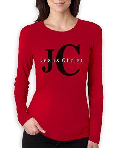 JC Jesus Christ high Quality very comfortable Frauen Langarm-Rot Medium T-Shirt (Jesus Christ T-shirt)