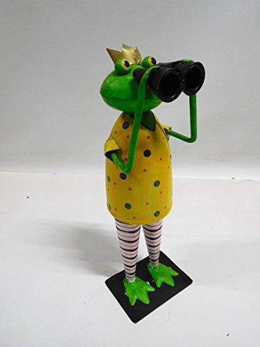 Frosch Kanu Exner Gartendeko Dekofigur Figur Metall H 36 cm 230067 mit Fernglas F50