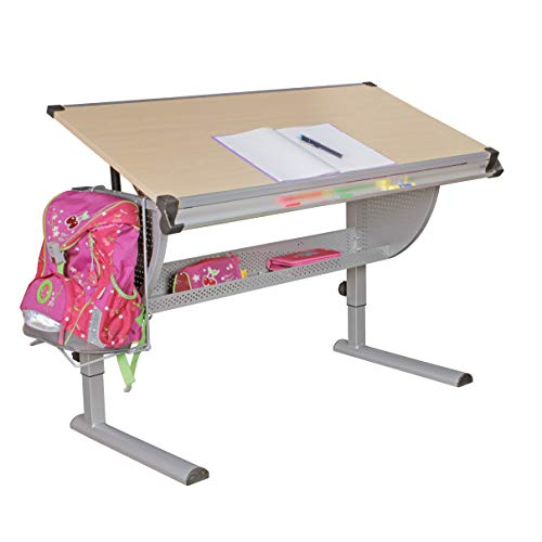 FineBuy Design Kinderschreibtisch Michi Holz 120 x 60 cm Buche | Mädchen Schülerschreibtisch neigungs-verstellbar | Schreibtisch Kinder höhenverstellbar -