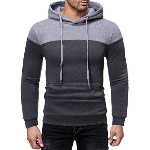 Men's Hoodies Pullover Casual Sports Outwear Sweatshirts ◆Elecenty◆ Slim Fit Hoodie Color Block Pullover Hooded Sportbekleidung with Kanga Pocket - Hanes Baumwolle Kurze Höschen