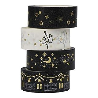 AUFODARA 4pcs Washi Masking Tape set (Gold)