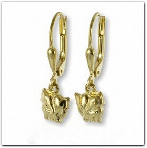 ASS 333Oro Pendientes Pendientes de plata con elefante elefantes 22mm teilmatt Oro...