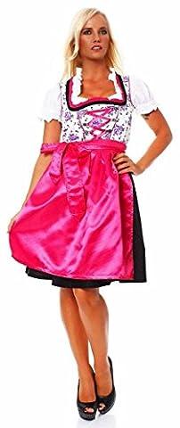 10623 Fashion4Young Dirndl 3 tlg.Trachtenkleid Kleid Mini Bluse Schürze Trachten Oktoberfest (34,