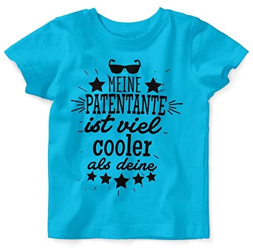 Mikalino Baby/Kinder T-Shirt mit Spruch für Jungen Mädchen Unisex Kurzarm Meine Patentante ist viel Cooler als Deine v2 | handbedruckt in Deutschland, Farbe:Atoll, Grösse:92/98