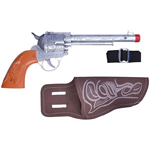 Spassprofi Pistole Cowboy mit Halfter Spielzeugpistole für Cowboykostüm Pistolen Revolver (Gangster Revolver)