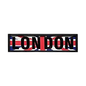 NIKKY HOME Hölzerne London-Plakette Wandschild Britische Flagge für Wohnaccessoires Hotel Bar Cafe Büro 68,5 x 2,5 x 17,5 cm