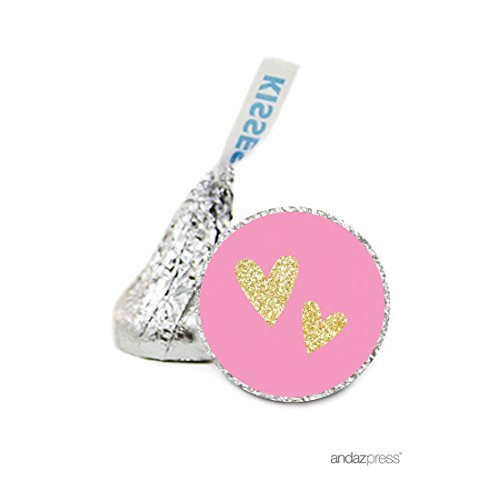 Andaz Press Chocolate Drop Labels Stickers Single, Wedding, Double Hearts Pink and Gold Glitter, 216-Pack, For Hershey's Kisses Party Favors, Gifts, Decorations by Andaz Press (Gold Hershey Kisses)