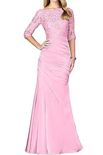 TOSKANA BRAUT Elegant Damen Rund Navy Spitzekleid Neu Halbarm Satin 2017  Abendkleider Lang Partykleider Promkleider Rosa
