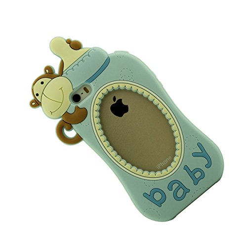Doux Silicone Gel iPhone 5 5C Coque protection Anti choc, Apple iPhone SE 5S Étui, Creative Originale Conception Biberon Apparence iPhone 5 Case+ Silicone Titulaire bleu