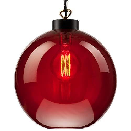 Lampe à suspension Lampe de plafond en verre E27 (Couleur: Rouge foncé) Lampe industrielle vintage Lampe de salle de séjour Salon moderne avec collier Lampe vintage de salon/cuisine/bureau