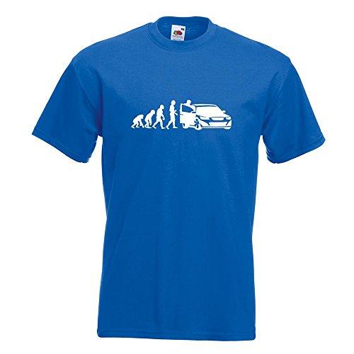 KIWISTAR - Evolution Autofahrer T-Shirt in 15 verschiedenen Farben - Herren Funshirt bedruckt Design Sprüche Spruch Motive Oberteil Baumwolle Print Größe S M L XL XXL Royal