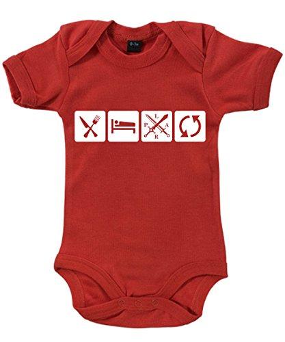 -- Eat Sleep LARP Repeat -- Babybody Rot, Größe 3/6 Monate (Coole Larp Kostüme)