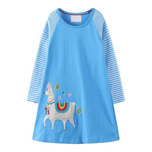 OHBABYKA Cute Baby Girls Casual Baumwolle Tiere Gedruckt Streifen Langarm Playwear Kleid (2T, Alpaca01)