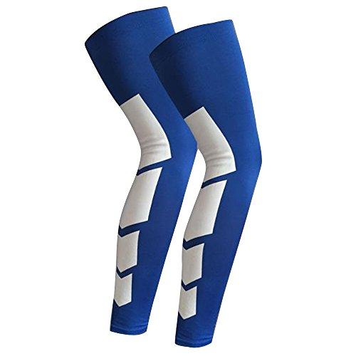 Lmeno 2pcs Kneepad Knee Protector Shin manica lunga Sleeve Socks Scaldamuscoli per gamba con parastinco Pallacanestro compressione proteggi ingranaggi Stretch Maniche coperture Anti Slip per Running Ciclismo Rugby Football Crossfit 3 Sizes - M-Blu1