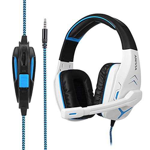 3. ANIVIA AH18 3.5mm Gaming Headset Noise Reduction Stereo Surround Headphone with MIC for Pc/Mac/Ps4/Phone White ...
