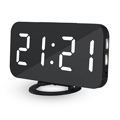 Multifunktions LED Digital Uhr, mamum LED Digital Wecker mit USB Port für Handy Ladegerät touch-activited Schlummerfunktion, weiß, Einheitsgröße Digital-wecker Mit Ladegerät